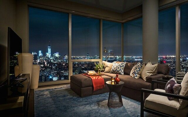 Beautiful space living room night view nyc | Foyer, hall ...