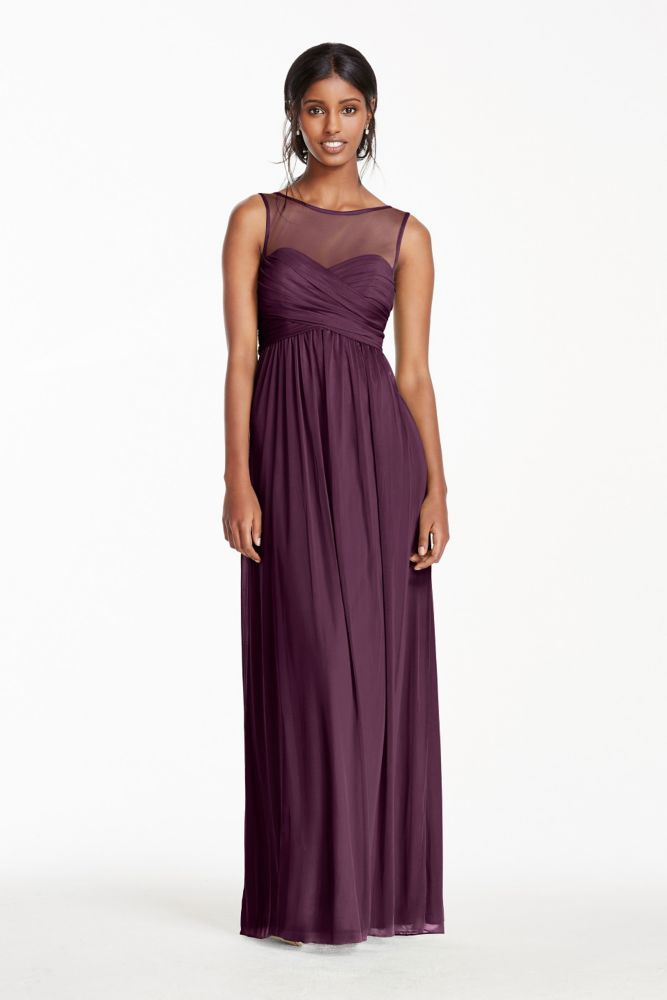 Long Mesh Bridesmaid Dress with Illusion Neckline - Plum (Purple), 2