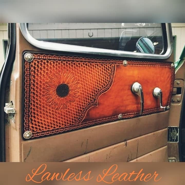 Truck Interior Door Panels In Tooled Leather Truck Interior Leather Tooling Automotive Upholstery