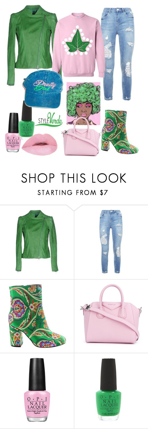 """Pink & Green Tings..."" by cagreinvented on Polyvore featuring Street Leathers, Givenchy and OPI"