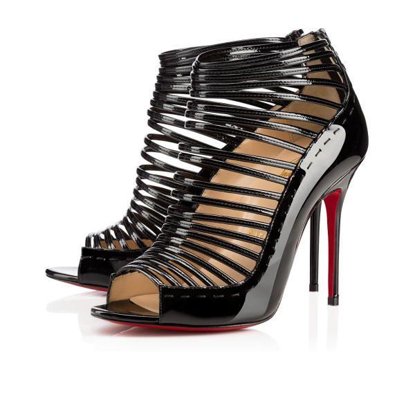 Christian Louboutin Gortika 100mm Black Patent Leather Women Sandals