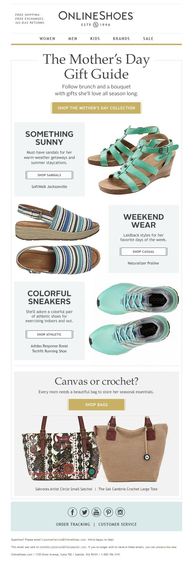 Mother's Day email from Online Shoes. #emaildesign #mothersday