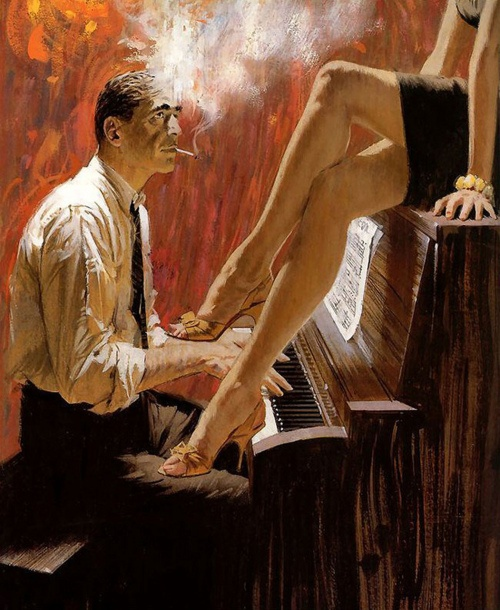 wanted: someone to sit on the piano. | not quite as sexy to have a guy sit on the piano in a short skirt, imo...