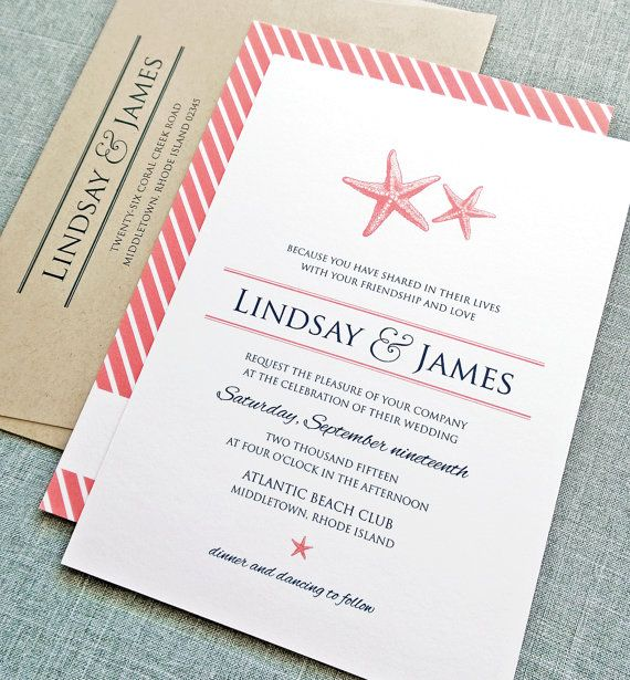 Lindsay Coral Starfish Wedding Invitation with Diagonal Coral Stripes and Recycled Taupe Invitation Envelope - Colors and fonts can be customized.