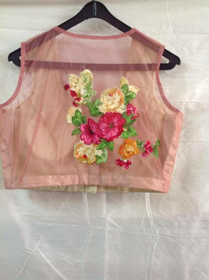 Net Blouse With Floral Patch Work At The Back Minmit Clothing