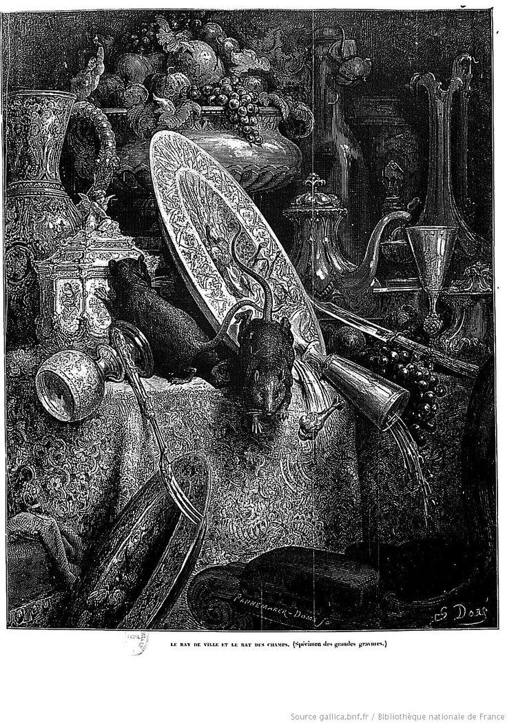 gustave dor illustrations des fables de la fontaine le rat des villes et le rat des champs. Black Bedroom Furniture Sets. Home Design Ideas