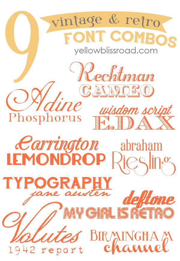 18 beautiful vintage & retro free fonts, paired into nine fabulous font combos!  ~~ {18 free fonts w/ easy download links}
