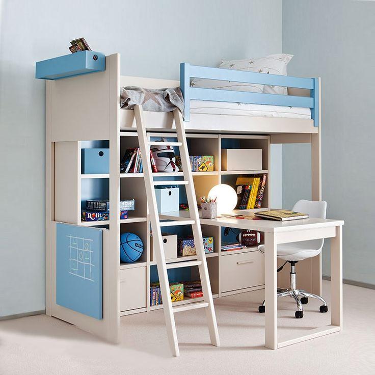 Roomplanner Hochbett Liso mit Schreibtisch und Wandschrank in Safari,