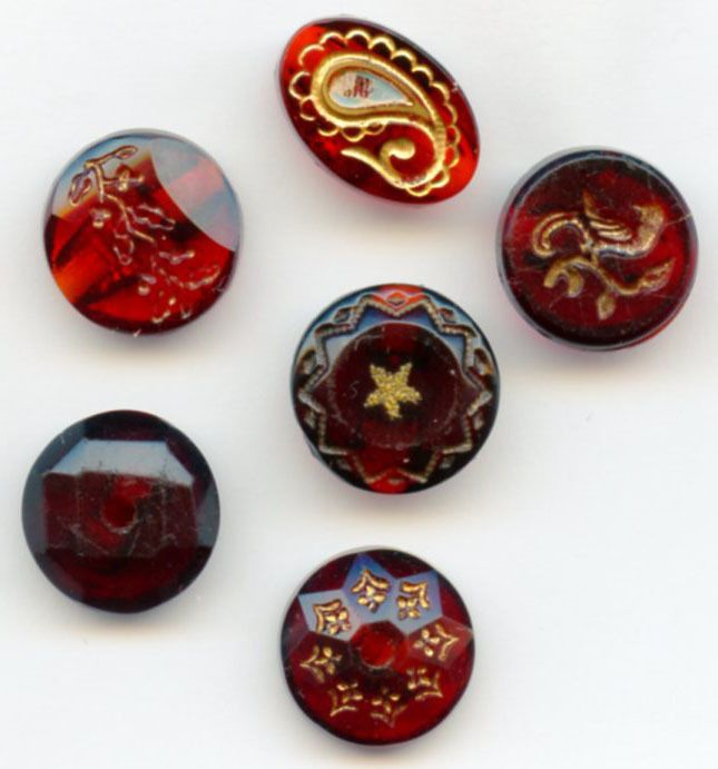 SOLD: 6 Cranberry ruby glass buttons transparent antique buttons