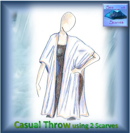 """Instructions on YouTube - """"Sew with Scarves - A Casual Throw Top with 3 Variations"""". Original Throw Top. 2 scarves, 1 straight stitched seam, ideal for beginner to advanced sewers. Comfortable, light and sassy."""