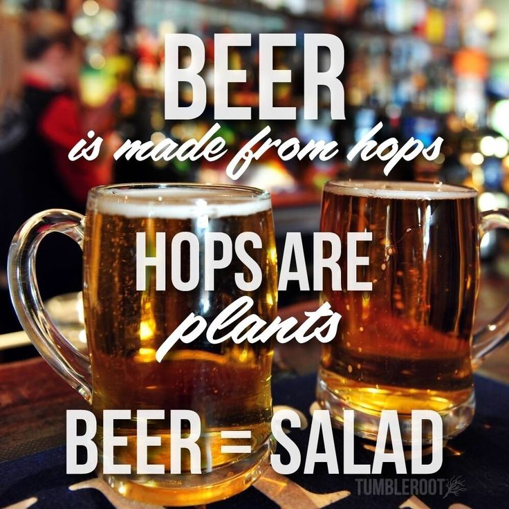 beer is made from hops.....                              hops are plants.....                                             beer = salad.....