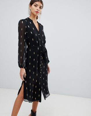 c7d6d1a14c51f3 Oasis foil printed feather shirt dress in black | Lovely dresses ...