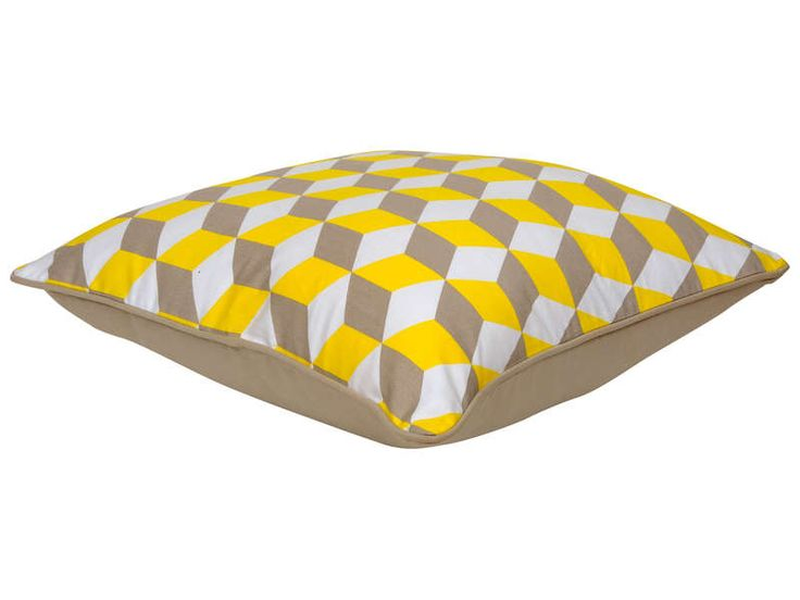 Coussin 50x50 cm 3D coloris jaune - Vente de Coussin et housse de coussin - Conforama