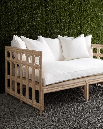 Faux-Bamboo Outdoor Sofa & Cushion Set - Horchow. Yum.