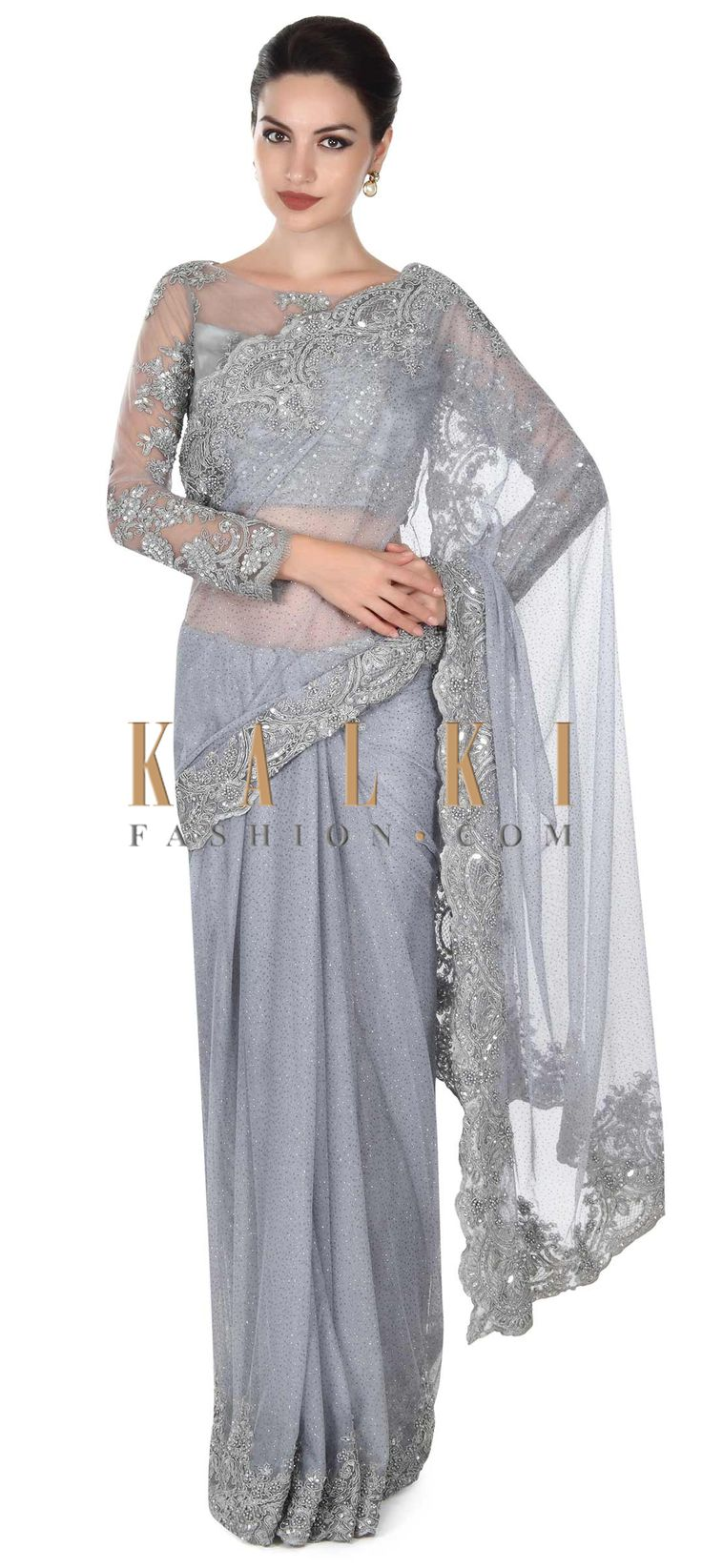 Buy this Grey saree matched with embellished blouse only on Kalki