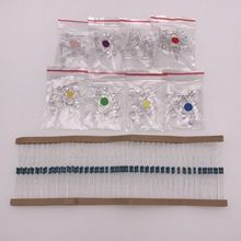 US $3.77 80PCS(8colorx10pcs) 5mm LED Diode Kit Red Green Blue White (UV) Pink Ultra Bright DIY Light Emitting Diode with 200k resistors. Aliexpress product