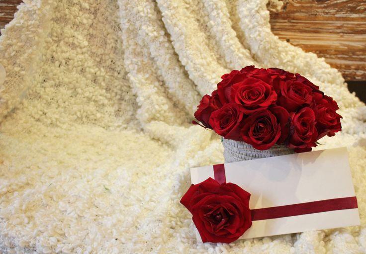 Composition roses rouges, et lettre