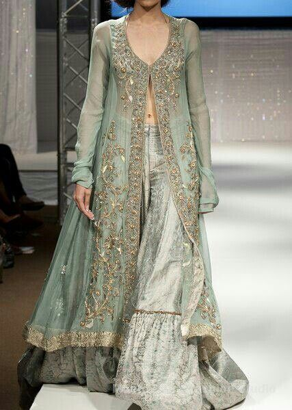Gorgeous sea green sharara suit
