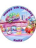Shopkins 7.5inch Round personalised birthday cake topper printed on icing