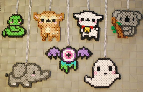 Cute animal perler necklaces and magnets snake lamb