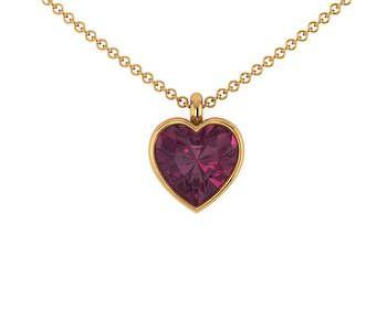 Grape Garnet Heart Necklace