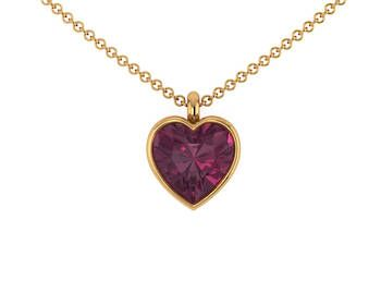 Grape Garnet Heart Necklace