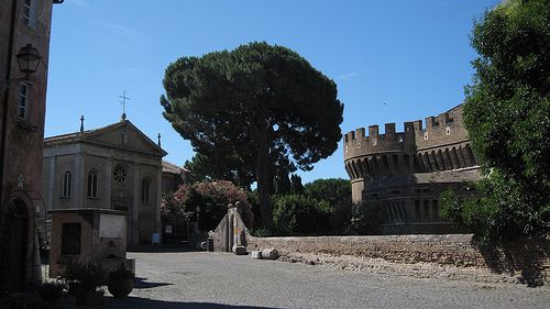 The court yard and little Parish church by the Fortezza de Papa Julius II (Cardinal della Rovere, for any Borgia fans out there). Ostia Lido.