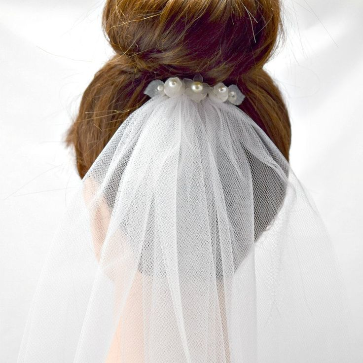 White Pearl Flower Bridal Veil by BouquetsByLouise on Etsy