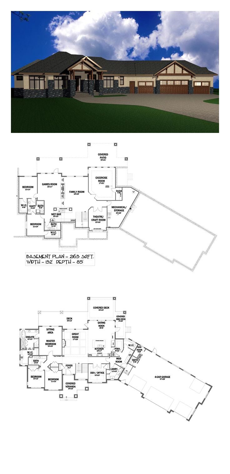 Bungalow House Plan 81104   Total Living Area: 4919 sq. ft., 5 bedrooms and 4.5 bathrooms. #houseplan #bungalowhome