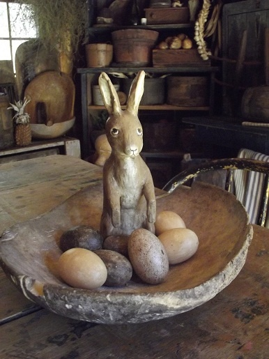 Primitive bunny with eggs