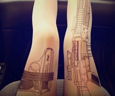 gun tattoo tights