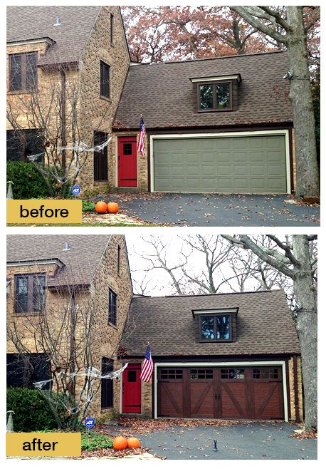 diy faux wood garage doors. this homeowner chose a clopay canyon ridge collection stained faux wood garage door to replace the diy doors