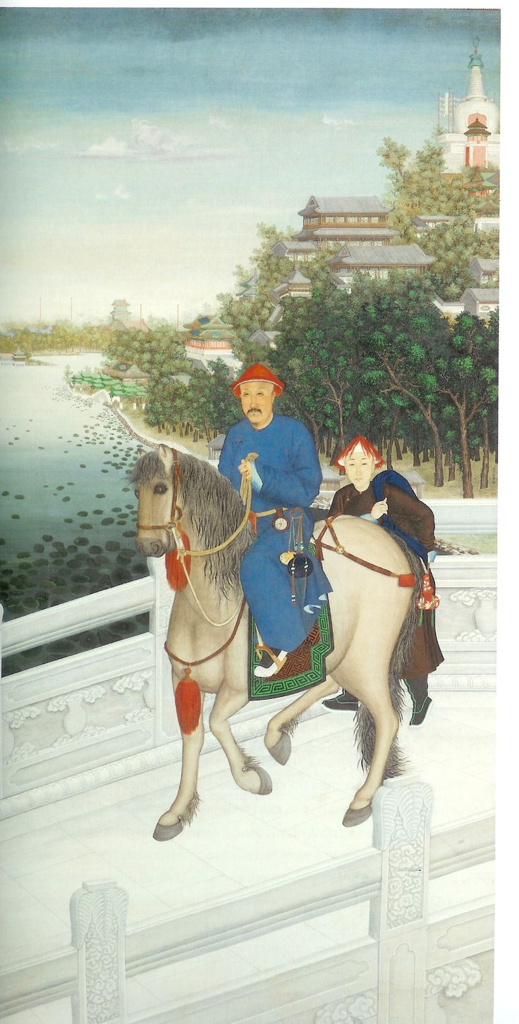 "Castiglione's ""Portrait of the Qianlong Emperor in front of the White Pagoda"" mixes Western and Eastern artistic techniques."