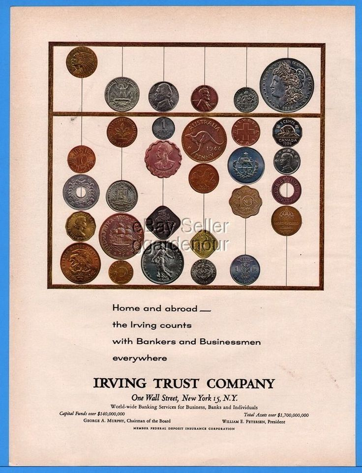 1960 Irving Trust Co New York Bank Coins Indian Head Liberty Dutch Print Ad