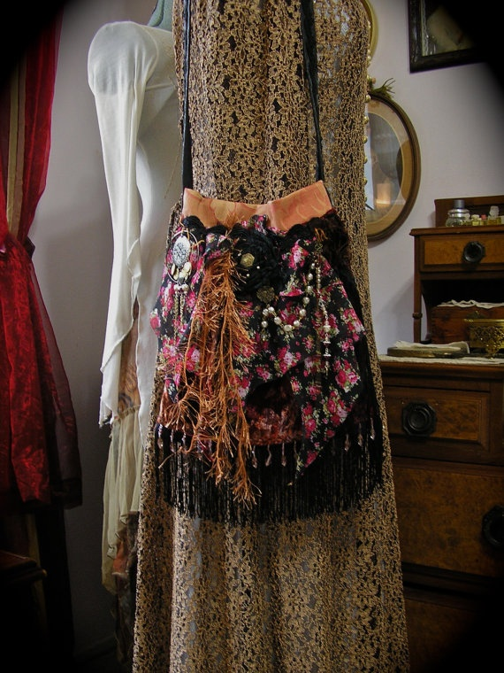 Gypsy Fringe Purse handmade with velvet and floral fabrics by Dede