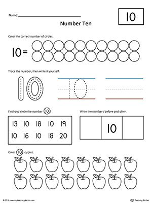 Number 10 Practice Worksheet Worksheet.Help your child practice counting, identifying, tracing, and writing number 1 with this printable worksheet.