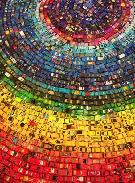 rainbow of matchbox cars...  @Ashley S- you can make this for you little guy when he out grows his matchbox love