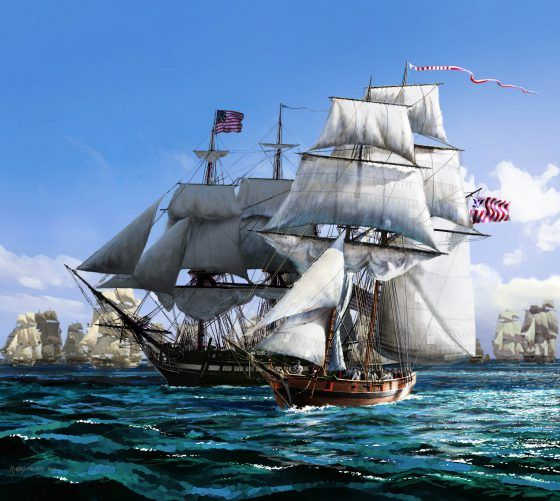 Picture of Eagle and USS Constitution escorting a convoy out of the Caribbean. Picture by marine artist Peter Rindlisbacher.