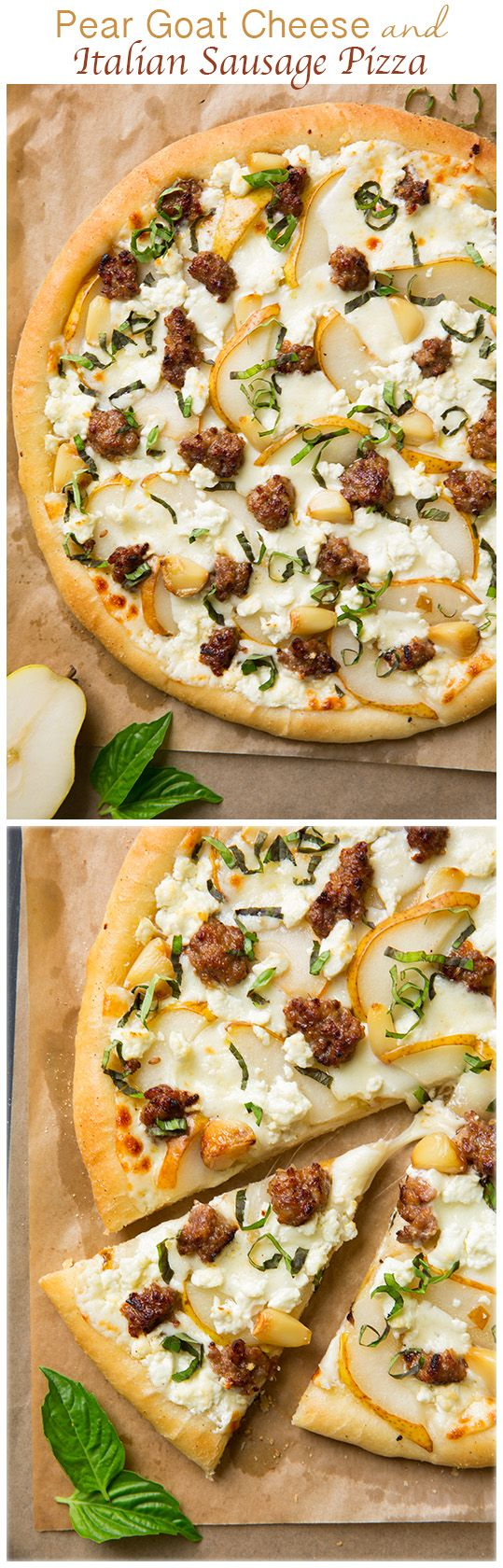 Pear Goat Cheese and Italian Sausage Pizza with Roasted Garlic and Fresh Basil - this pizza is out of this world AMAZING! If you like flavor you'll love this pizza!! The ultimate fall pizza. (gf dough)
