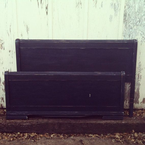 Antique 1940s Art Deco Waterfall Navy Headboard by SECONDREVIVAL, $150.00