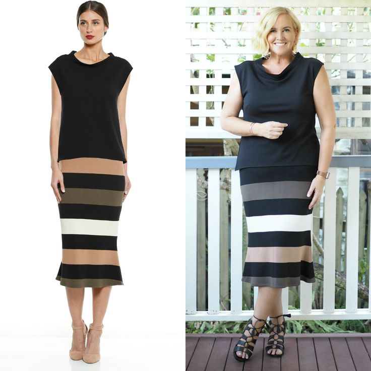 The model and me - Sasha Drake black top and striped skirt outfit Styling You
