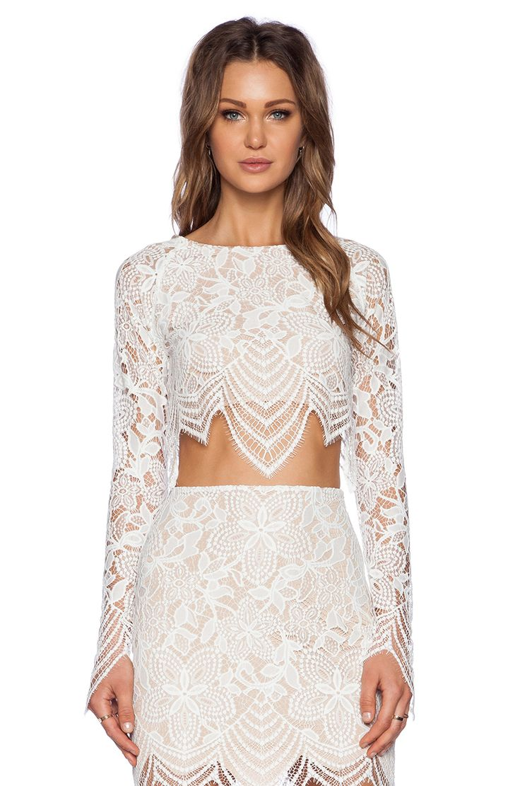 """Top- rehearsal- small nude and white- For Love & Lemons Guava Crop Top in White & Nude- the top and bottom would be a great """"big"""" christmas present..."""