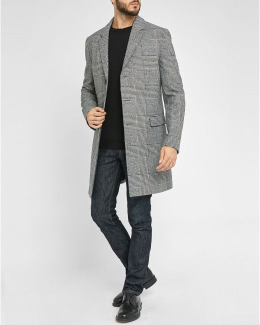 HUGO | Gray Grey Migor Glencheck Woollen Overcoat for Men | Lyst