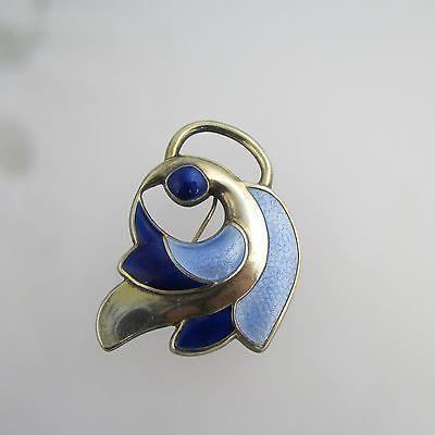 Vintage Sterling SIlver J Tostrup Norway blue bird guilloche enamel brooch