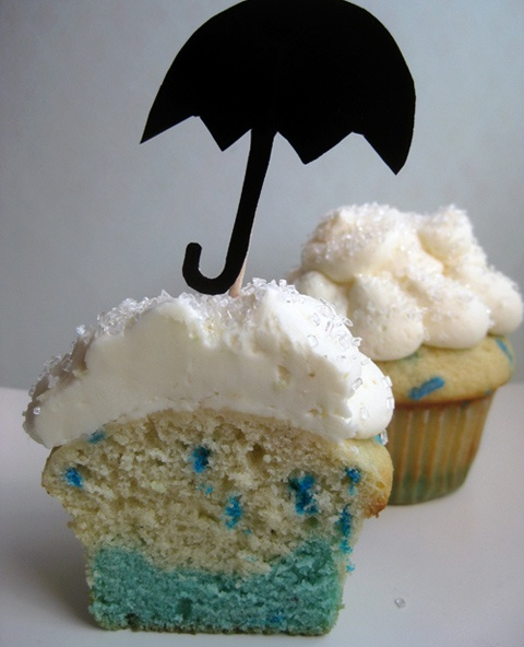 bake-it-in-a-cake Cloud and Raindrop Cupcakes: Shower Cupcakes, Cloud Cupcakes, Food, Rain Cupcake, Cup Cake, Cupcake Idea, Rainy Days, Baby Shower, Dessert
