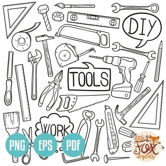 Vector Eps Tools Diy Work Home Instruments Doodle Icons Clipart Scrapbook Set Artwork Hand Drawn Cli Doodle Icon Scrapbook Designs Doodles