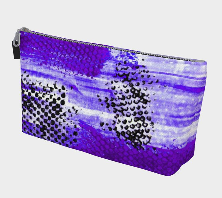"Makeup+Bag+""Purple+Black+and+White+Abstract""+by+Karen+Kammermann"