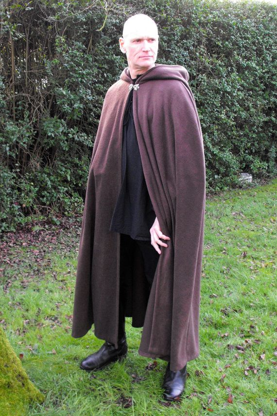 Legendary Pointed Hood Fleece Cloak / Cape with Pewter Celtic Clasp - Small, Medium, Large, XL or XXL in Green, Brown, Red, Purple or Black. $106.00, via Etsy.