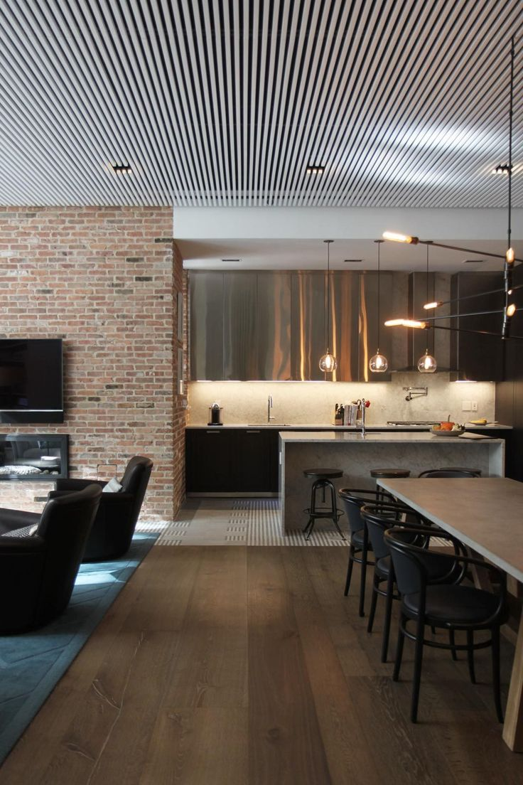 Interior architecture project for new family home in reconverted police station in Brooklyn, New York.