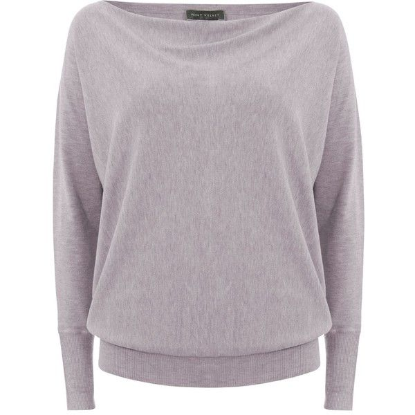 Mint Velvet Mineral Cowl Batwing Knit (51 AUD) ❤ liked on Polyvore featuring tops, sweaters, clearance, neutral, cowl top, purple top, cowl sweater, batwing tops and mint velvet